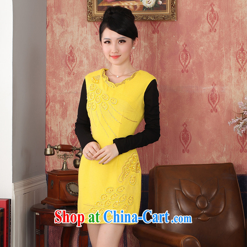 East noble counters are 2014 winter clothing new wool embroidery cheongsam girls dresses package mail yellow XXL