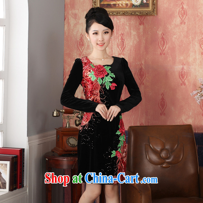 East noble counters are for spring 2014 with new long-sleeved velvet cheongsam dress three-dimensional decorative embroidery stylish and elegant solid skirt package mail燲XL