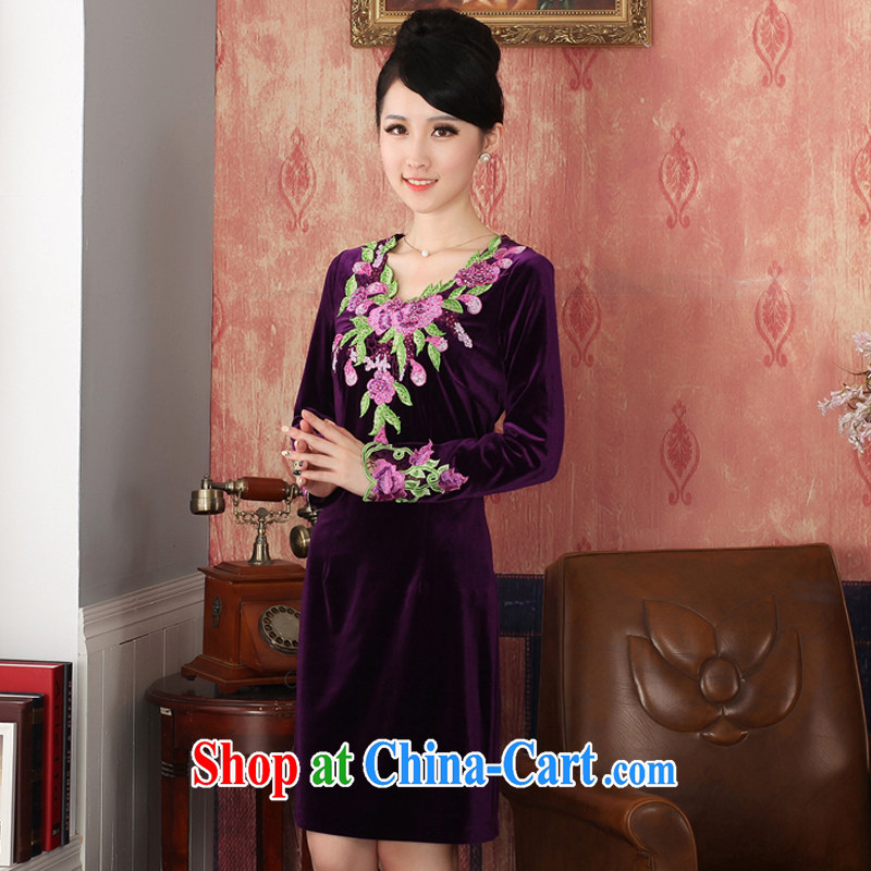 East noble counters are for spring 2015 the new wool long sleeved shirt cheongsam short, elegant and airy beauty dresses purple XXL