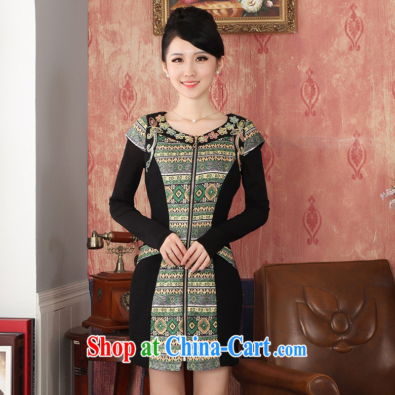 East noble counters are 2014 winter clothing New Fleece robes abstract floral zipper dresses girls stylish retro elegant daily improved short green XXL