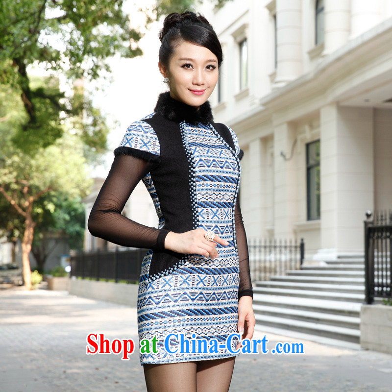 East noble counters are 2014 winter clothing New Fleece floral elegant ethnic wind retro short-sleeved dresses short dresses package mail XXL