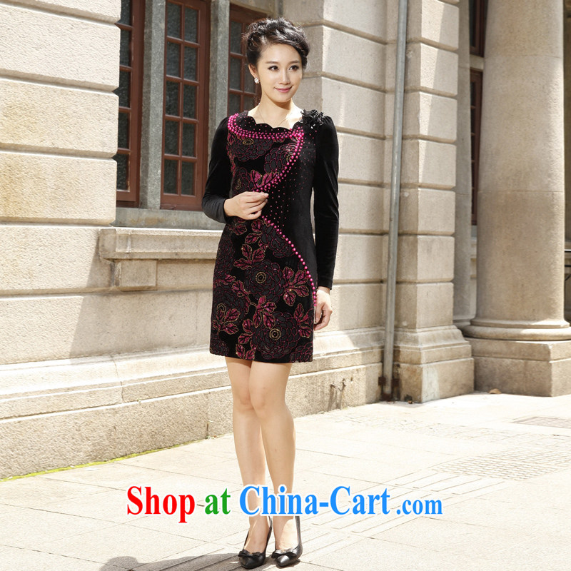 East noble counters are for spring 2015 with new long-sleeved velvet cheongsam dress hook spent three-dimensional embroidery short XXL
