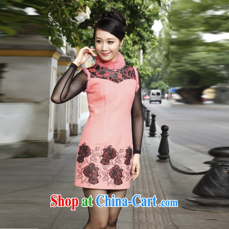 East noble counters a genuine wool dresses embroidery stitching wool collar dresses pink 2014 winter clothing new XXL