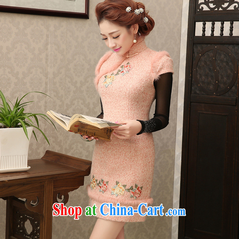 Early Morning, winter clothing new 2014 rabbit hair thick hair so the retro style Tang women daily cheongsam dress meat pink XXXL