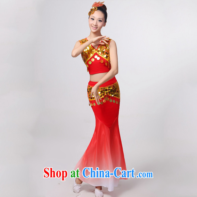 Dual 12 arts dream dress 2014 Dai dance costumes Yunnan Peacock Dance minorities, cultivating crowsfoot skirt HXYM - 0032 red XXXXL custom