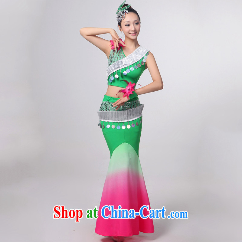 Dual 12 arts dream dress 2014 Dai dance costumes Yunnan Peacock Dance minorities, cultivating crowsfoot skirt HXYM - 0 green gradient as XXXL custom