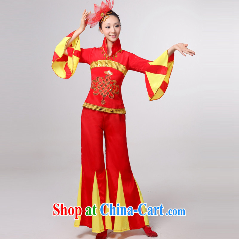 Dual 12 arts dream dress 2014 new folk dance performances serving costume Yangge Janggu serving serving fans dance clothing HXYM - 0035 red XXL
