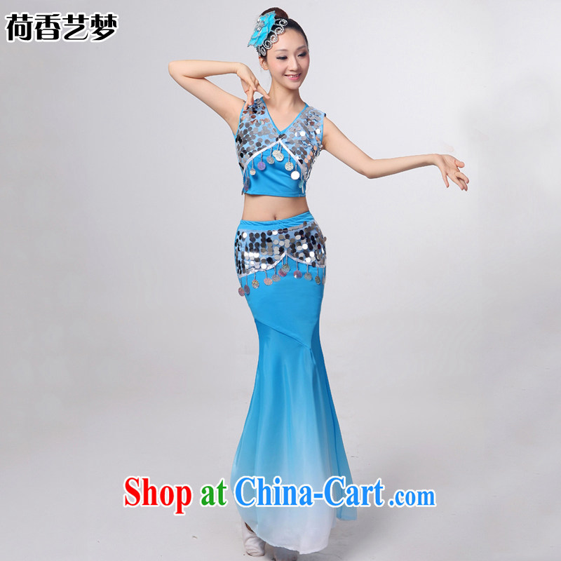 I should be grateful if you would arrange for her dream 2014 Dai dance costumes Yunnan Peacock Dance minorities, cultivating crowsfoot skirt HXYM 0032 blue XL