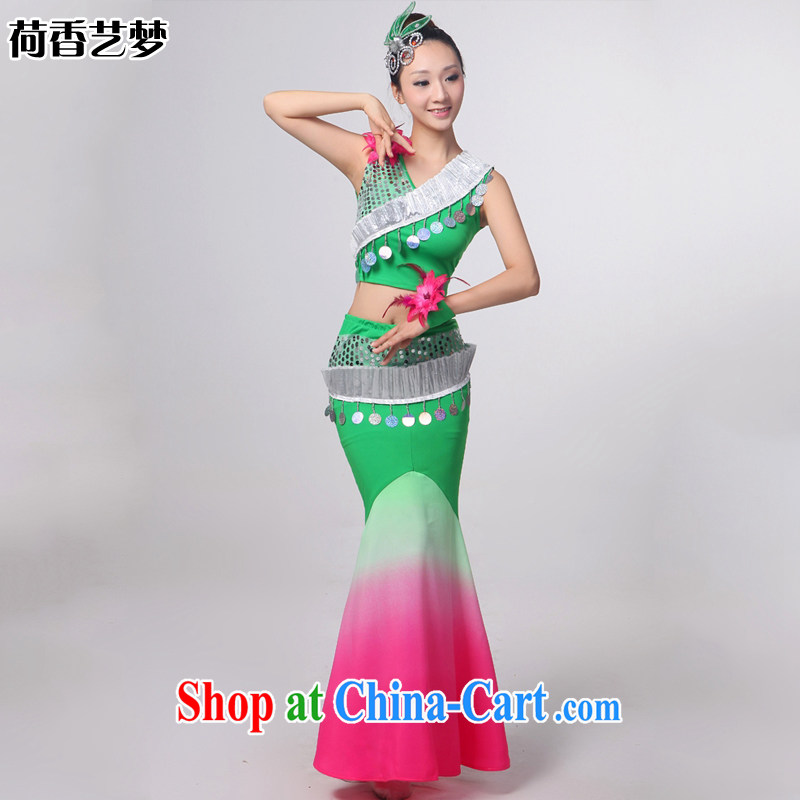 Double I should be grateful if you 12 HONG KONG ARTS dream new Dai dance Yunnan Peacock Dance dancers, cultivating crowsfoot skirt HXYM 0033 green gradient figure XXXXL.