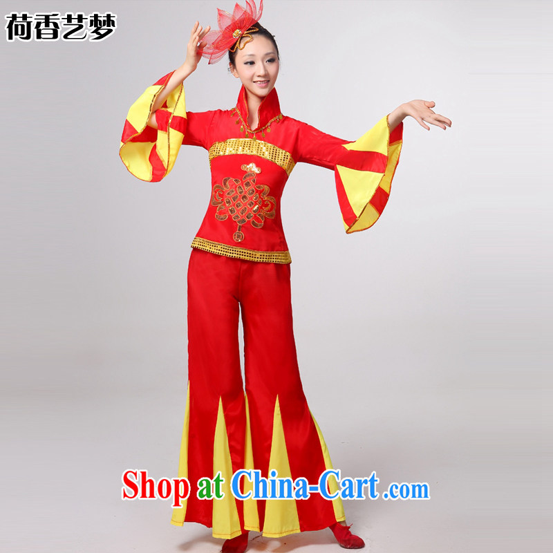 I should be grateful if you would arrange for her dream 2014 new folk dance performances serving costume Yangge Janggu serving serving fans dance clothing HXYM 0035 red XXL