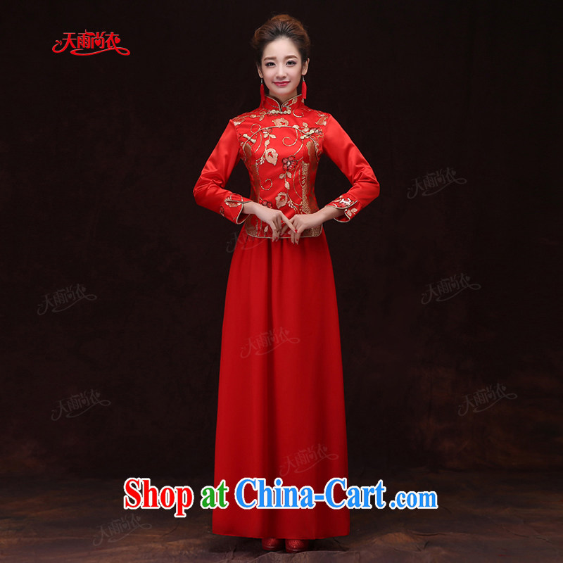 Rain was Yi 2015 new wedding dresses bows Service Bridal long-sleeved long red dresses winter women Chinese qipao QP 571 red XL