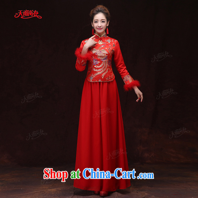 Rain is still Yi 2015 new wedding dresses bridal winter clothing long-sleeved long red phoenix embroidered winter women dresses QP 572 red XL