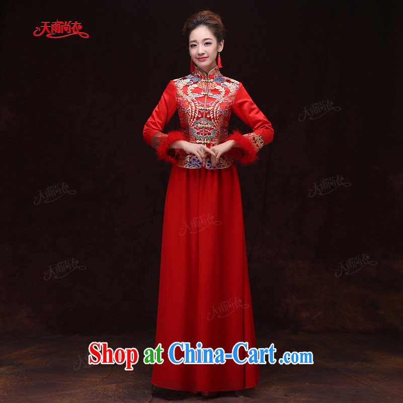 Rain is still Yi 2015 new wedding dresses toast serving Chinese hotel wedding bridal journey, long-sleeved red warm winter outfit QP 573 red XL