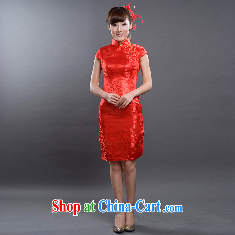 The bride's 2015 new Stylish retro dresses bows dress lace cheongsam 619 L