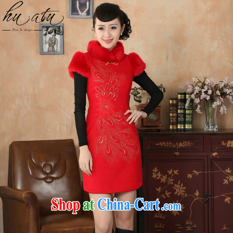 spend the winter clothes cheongsam dress Chinese Chinese improved, gross for their wool is the cheongsam dress cotton short cheongsam dress dress red 2 XL