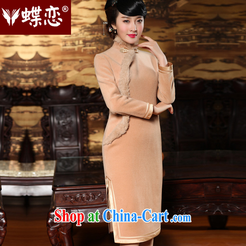 Butterfly Lovers 2015 spring new antique Chinese cheongsam dress improved stylish long-sleeved wool robes 49,142 tulips XXL