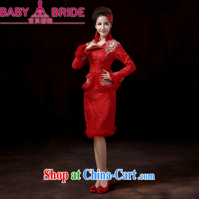 Baby bridal upscale winter bridal long-sleeved wedding dresses dress cotton robes red winter clothes toast serving short two-piece dresses, winter XXL