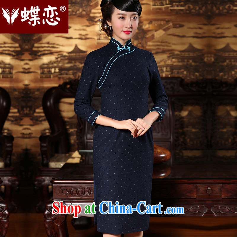 Butterfly Lovers 2015 spring new stylish improved long cheongsam dress butterfly tie retro hair so short cheongsam with 49,143 blue XL