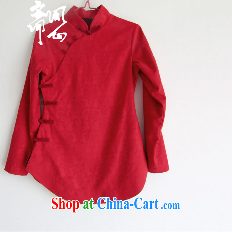 Ask a vegetarian winter new elections asked heart Health Women hand-tie Chinese improved cheongsam jacket is red dark shading cheongsam parka brigades