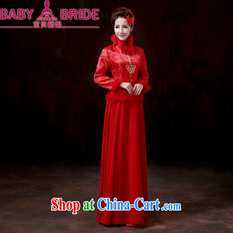 Baby bridal 2014 new bridal wedding dresses dresses red warm winter toast winter dresses, cotton long-sleeved evening dress XXL
