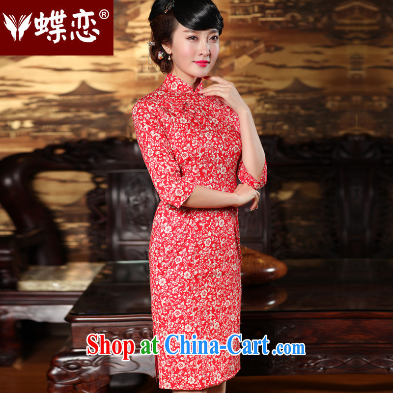 Butterfly Lovers spring 2015 the new, improved stylish cuff in cheongsam dress retro style Chinese qipao 49,146 red M