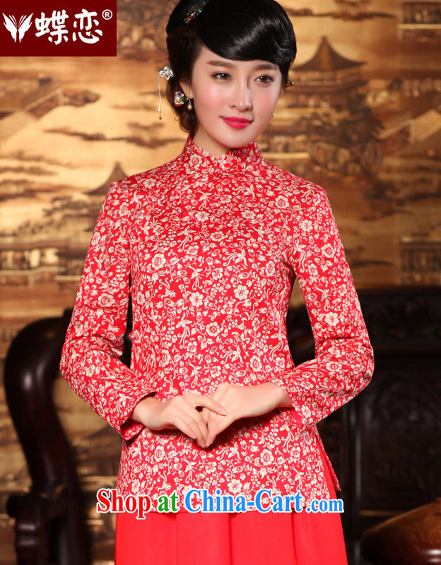 Butterfly Lovers 2015 spring new retro-tie Chinese improved cheongsam shirt China wind, Chinese T-shirt 49,150 red XXL