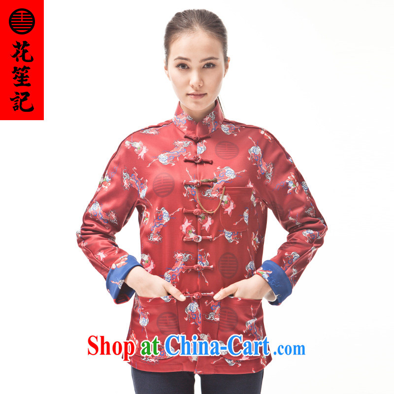 Take Your Excellency's visit wave of Ms. Unicorn beauty stylish Chinese Chinese T-shirt ethnic wind fall and winter jacket red (M)
