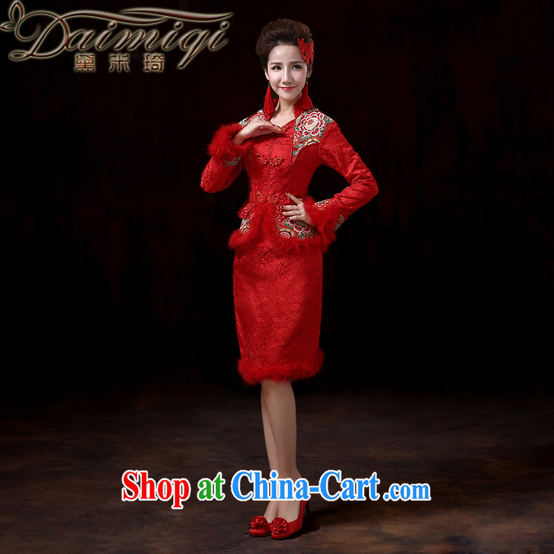 Diane M Ki upscale winter bridal long-sleeved wedding dresses dress cotton robes red winter clothes toast serving short winter outfit, serving toast XXL