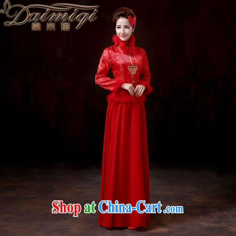 Diane M-kay 2014 new bridal wedding dresses dresses red warm winter toast winter dresses, cotton long-sleeved evening dress macrame annual service performance XXL