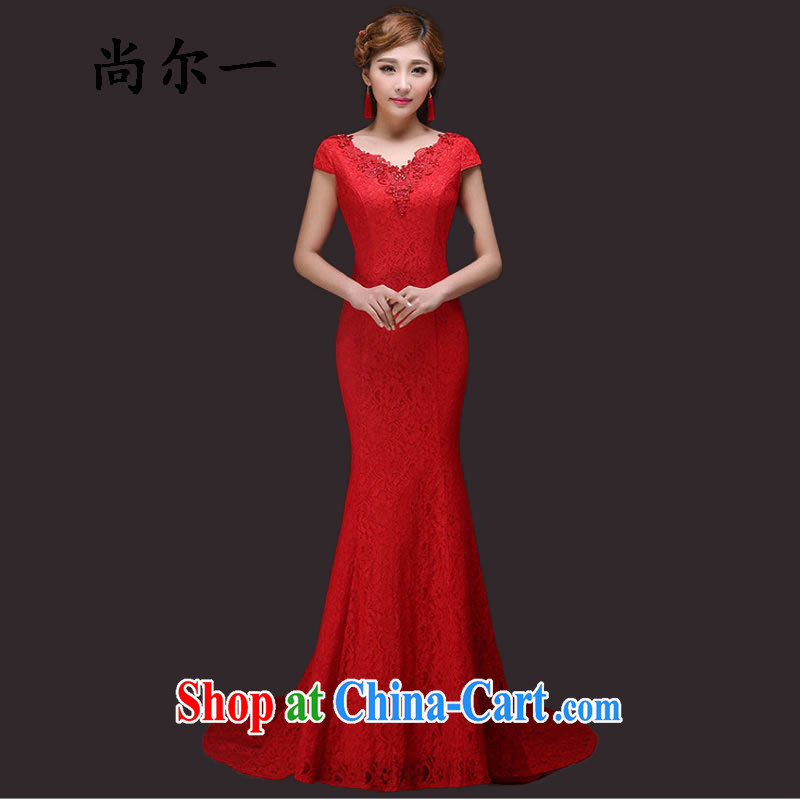 Still, 12,015 wedding New Red bows marriage crowsfoot long lace bridesmaid service banquet dress YY 6978 red XXL