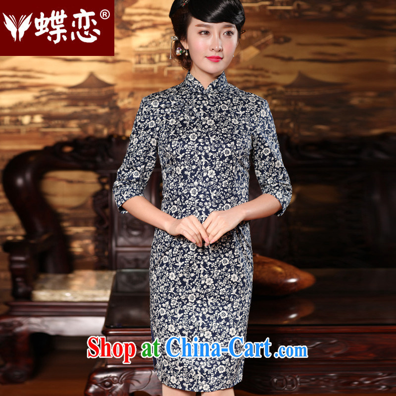 Butterfly Lovers spring 2015 the new, improved stylish cuff in cheongsam dress retro style cheongsam 49,146 blue XXL