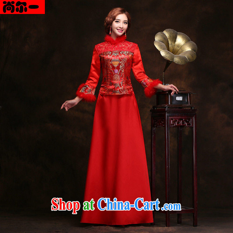 Still, 12,014 new marriages improved cheongsam stylish winter long-sleeved warm toast serving Chinese folder cotton dress YY 2310 red XXL