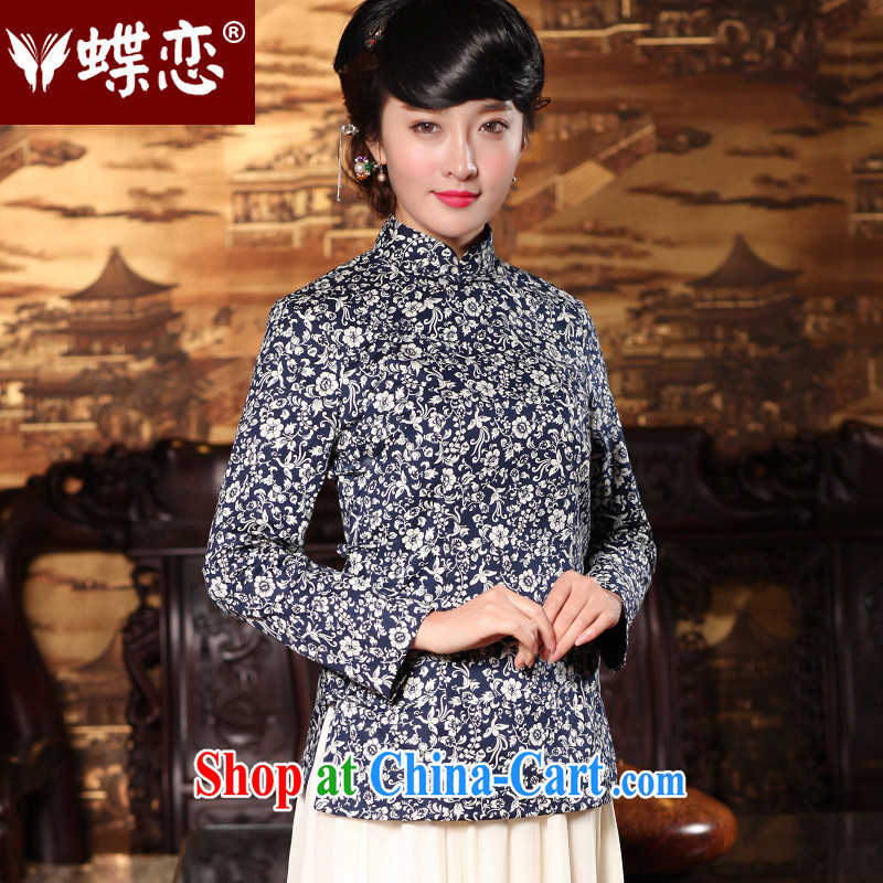 Butterfly Lovers 2015 spring new retro-tie Chinese improved cheongsam shirt China wind, Chinese T-shirt 49,150 Tibetan New Products pre-sale 12.30 the XXL