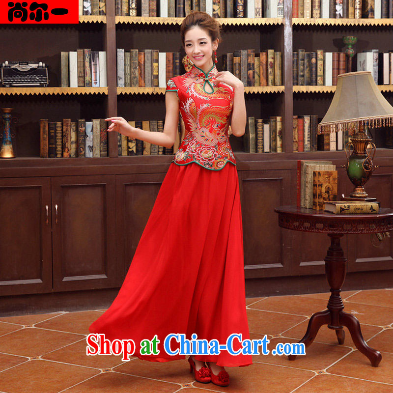 There's a red wedding dresses long sleeved dresses new spring retro wedding long bridal toast wedding service YY 6780 red XXL