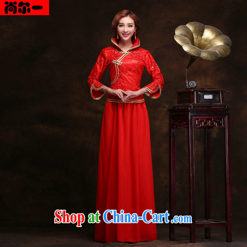There are 2014 new wedding dresses retro improved long red bows service beauty graphics thin bridal gown style ladies serving toast YY 9410 red XXL