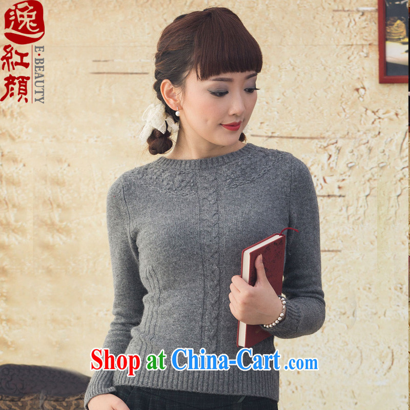 once and for all of our proverbial hero, solid knit sweater girl sweater-jacket fall and winter new round-collar long-sleeved sweater light gray XL