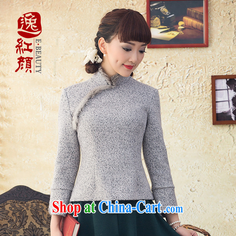 once and for all and fatally jealous rock Chi Tang replace Ms. winter clothes Ethnic Wind Jacket wool knitting? rabbit hair for Chinese qipao T-shirt light gray L