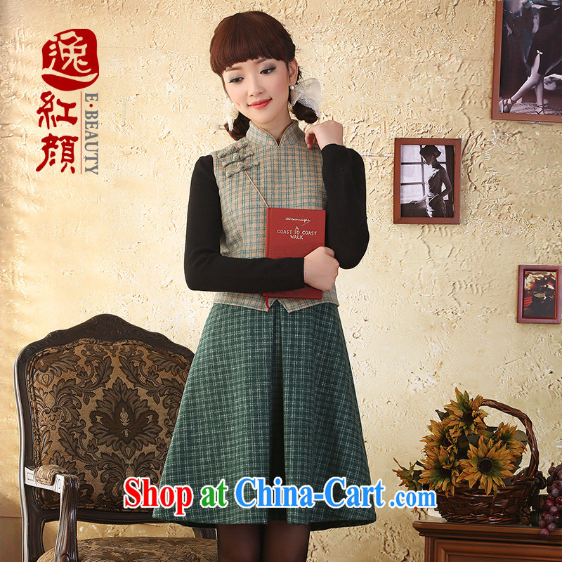 once and for all and yet fatally jealous man Ethnic Wind wool tartan, for gross skirt is cultivating dresses fall and winter new stylish green 2 XL