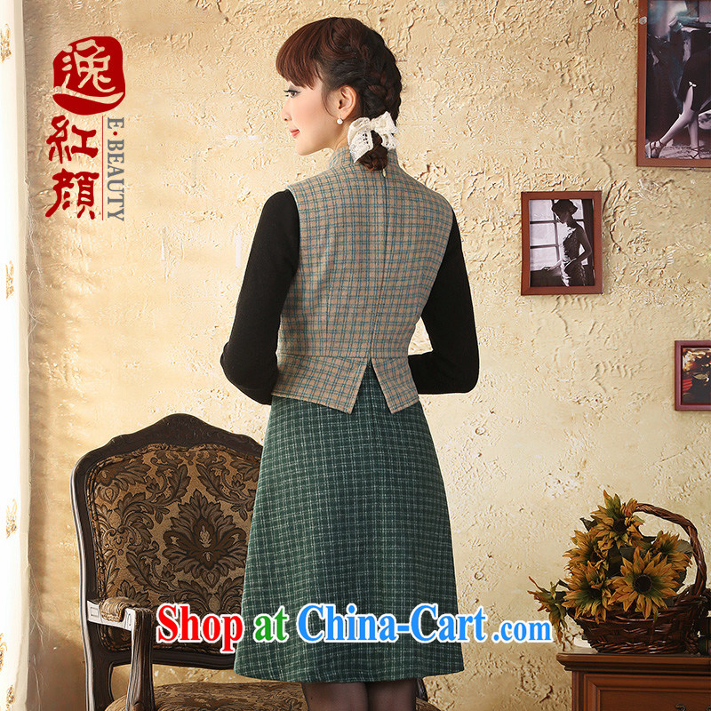 proverbial hero once and for all and there is a National wind wool tartan, for this gross beauty skirt dress autumn and winter new stylish green 2 XL, fatally jealous once and for all, and, on-line shopping