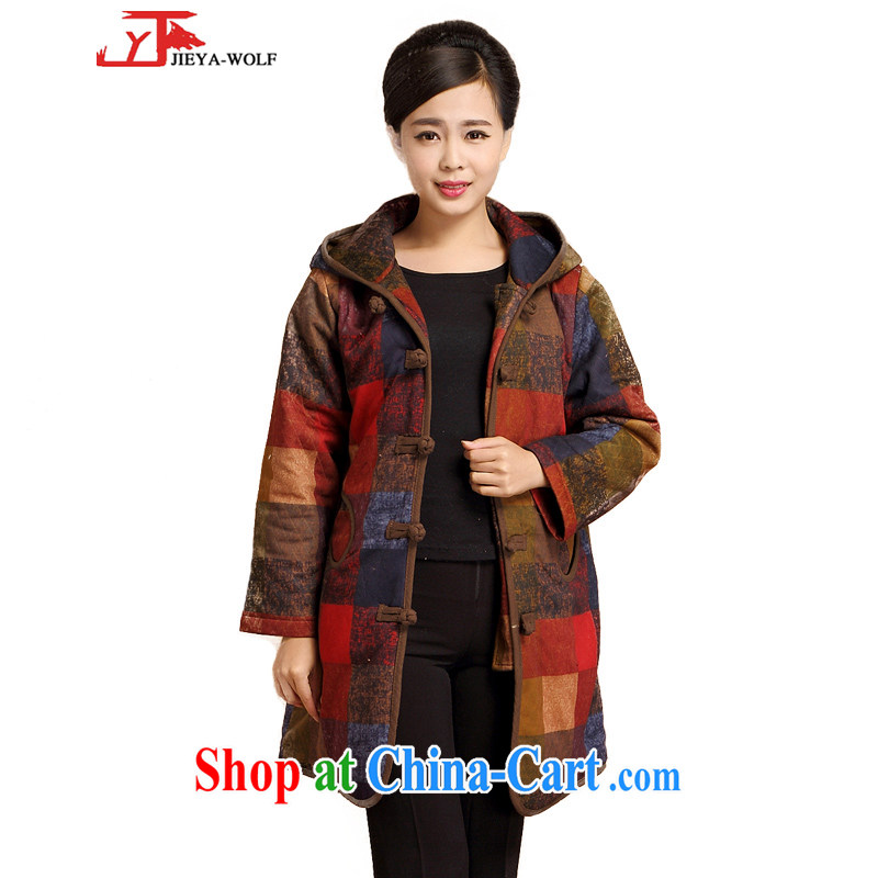 JIEYA - WOLF Tang Women's clothes quilted coat jacket autumn and winter fashion, Ms. replacing cotton clothing, long urban chic cap, blue and red checkered M