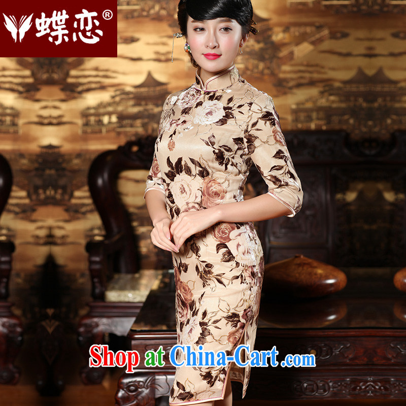 Butterfly Lovers spring 2015 the new improved stylish Silk Cheongsam dress in antique cuff long Chinese qipao 49,157 figure XXL