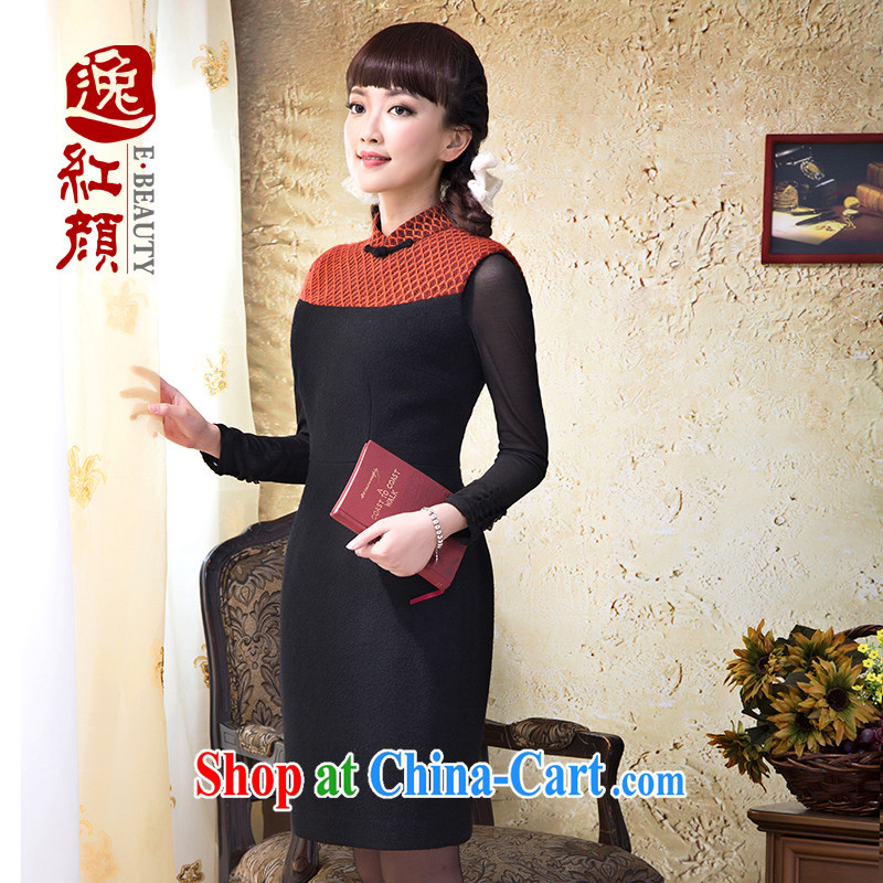 proverbial hero once and for all and is the leading stitching long-sleeved winter solid dresses new stylish beauty is gross dress black 2 XL