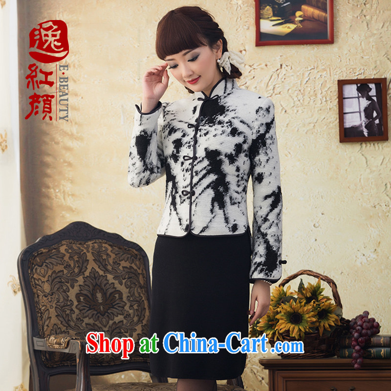 once and for all, and proverbial hero snow Chinese long-sleeved Chinese T-shirt ladies' 2015 winter clothes wool short jacket, T-shirt dresses tea white XL
