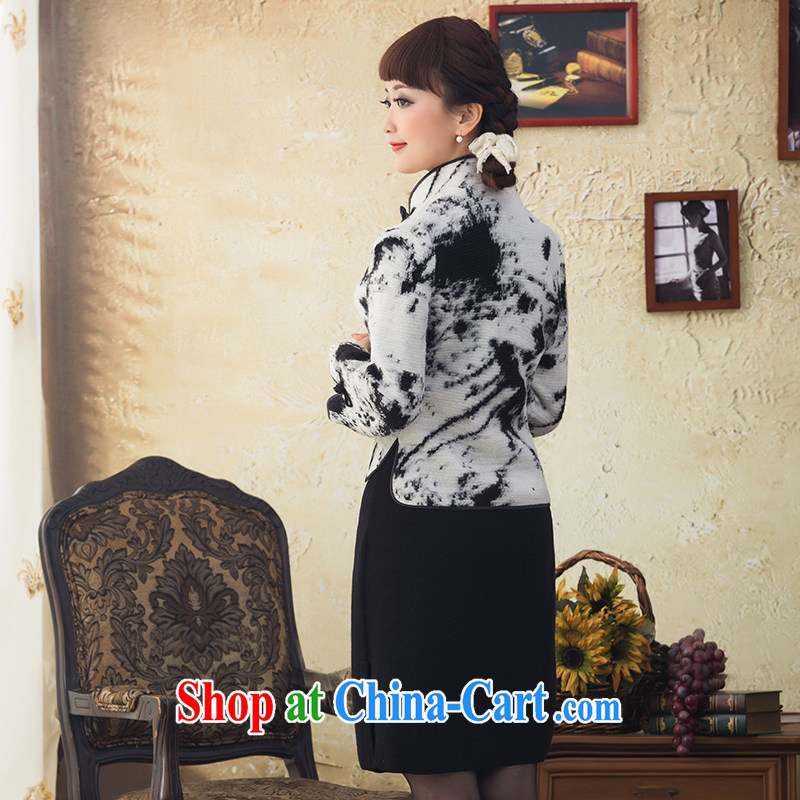 once and for all, and proverbial hero snow Chinese long-sleeved Chinese T-shirt ladies' 2015 winter clothes wool short jacket, T-shirt dresses tea white XL, fatally jealous once and for all, and, on-line shopping
