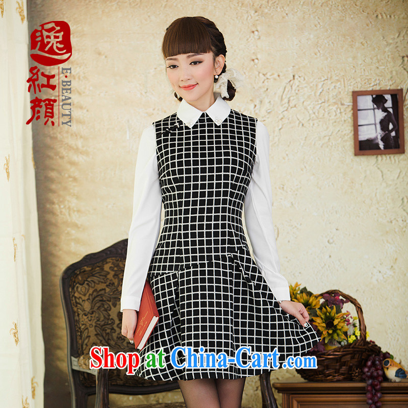 once and for all and fatally jealous Chin, tartan fashion? dresses fall and winter 2015 new female ethnic wind vest skirt black 2XL