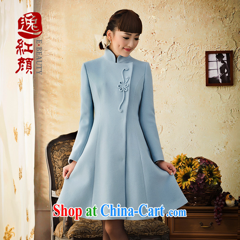 once and for all and fatally jealous Panzhihua wool long-sleeved wool so autumn and winter jackets girls in 2015 long, and for all sub-coat blue XL