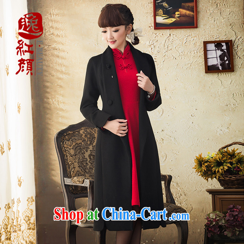 proverbial hero once and for all, the autumn and winter high-end wool, long hair that jacket women 2015 new wind jacket coat black XL
