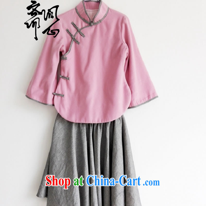 Ask a vegetarian winter new elections asked heart health Chinese Korea wind improved short cheongsam Kit cashmere spring coat body skirt WXZ 1078 pink T-shirt _418 L code