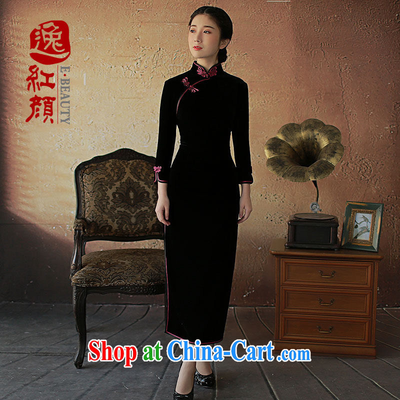 once and for all the proverbial hero flick as soon as possible and take the new, long-sleeved long gold velour cheongsam 7 cuff high on the truck black 2 XL