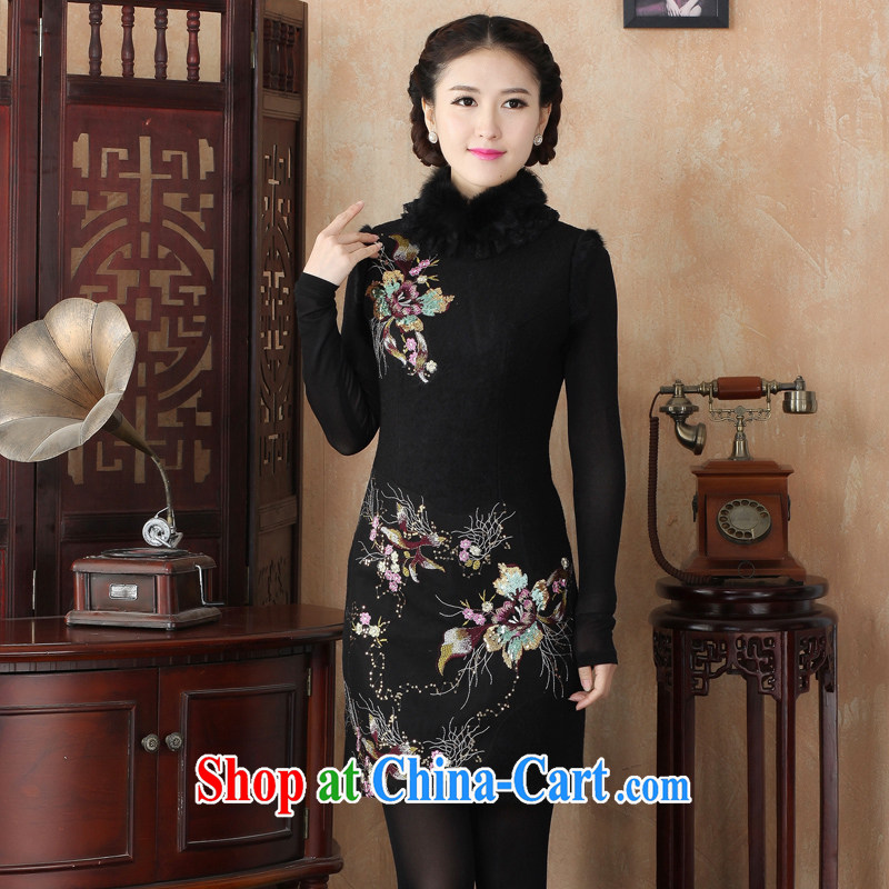 The Yee-sa 2014 new embroidery style improved cheongsam warm hair? Short cheongsam dress autumn and winter clothes 3226 Y D XL 3